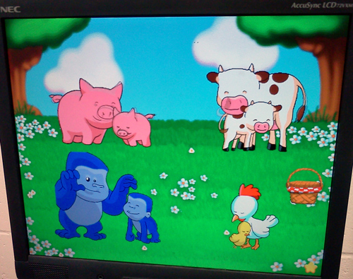 Reader Rabbit software - Mommy cow gets reunited with her baby calf