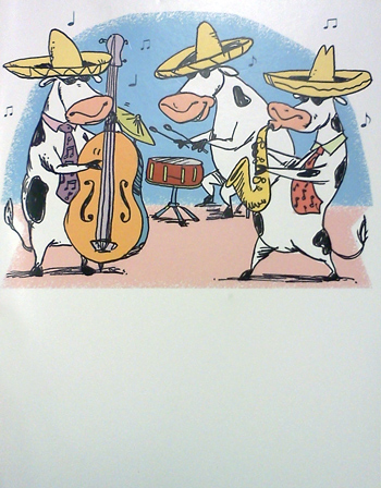Birthday card with cows