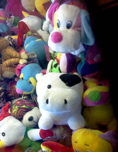 Cow stuck in claw machine