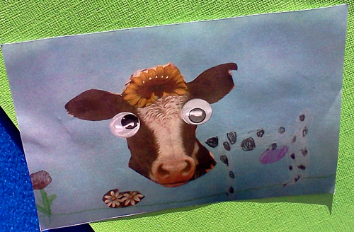 Crazy looking cow artwork