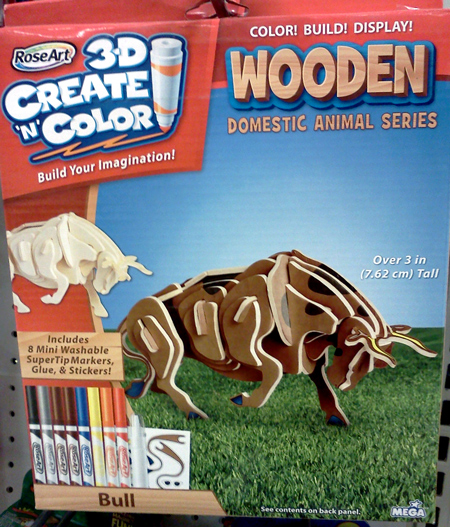 RoseArt 3D wooden bull puzzle