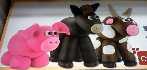 Clay cow, clay pig and clay horse