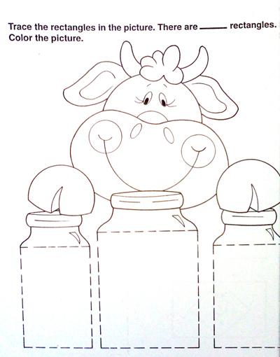 Cute cow teaches shapes for homework
