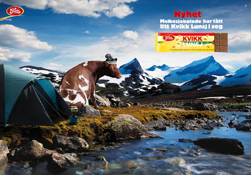 Ad with cow for Freia chocolate