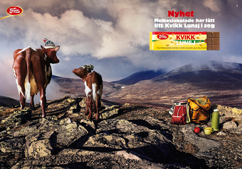 Ad for Norway's Freia chocolate with cows