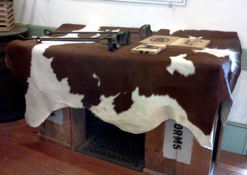 Cowhide at the San Diego Old Town visitor center