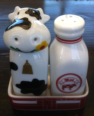 Salt and pepper shakers - cow and milk bottle