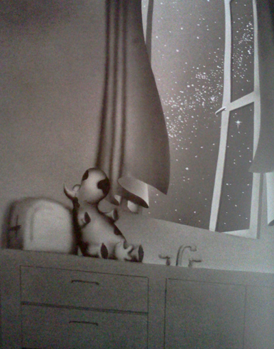 Goodnight Opus - a cow on the kitchen counter