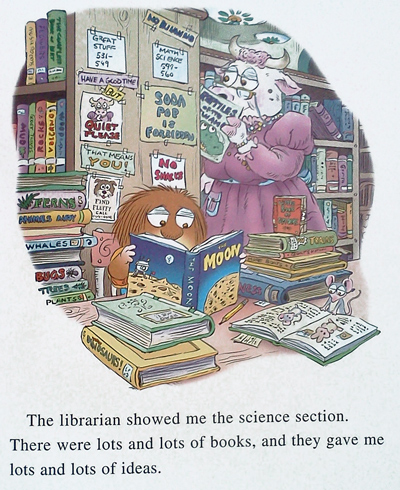 Little critter: the librarian is a cow