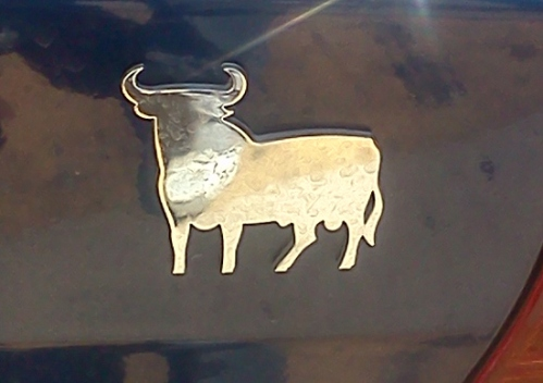 bull decal sticker on back of car