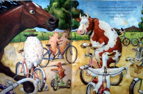 Duck on a bike book - cow on a bike, horse on a bike, pig on a bike