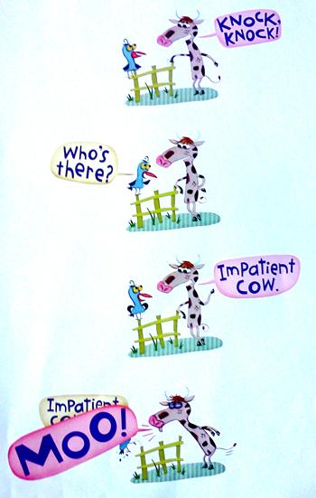 Knock knock joke with impatient cow