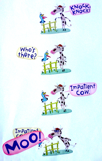 Knock knock joke with impatient cow