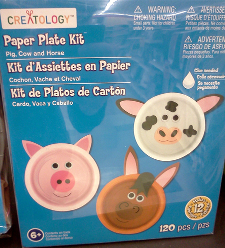 Michael's Creatology paper plate kit with cow and pig