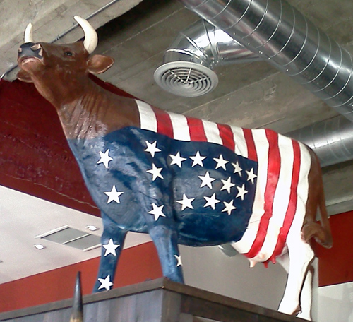 All American cow - cow sculpture with American flag