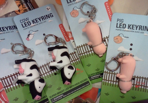 Cow LED keyring and pig LED keyring