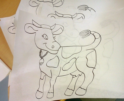 Cute cow ready to be painted at preschool