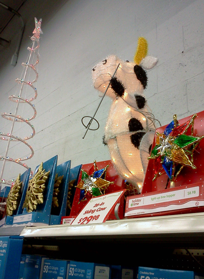 Skiing cow Christmas decoration at Walmart