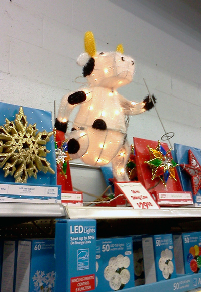 Christmas decoration - cow on skis