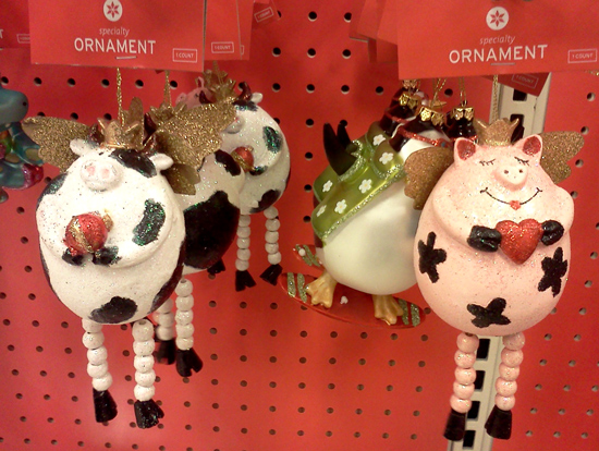 Cow angel ornament and pig angel ornament at Target