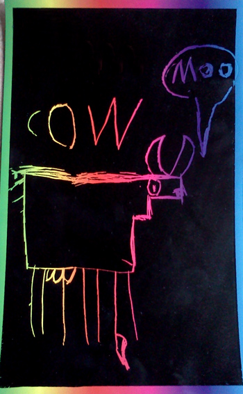 Rainbow cow - stenciled cow on rainbow paper
