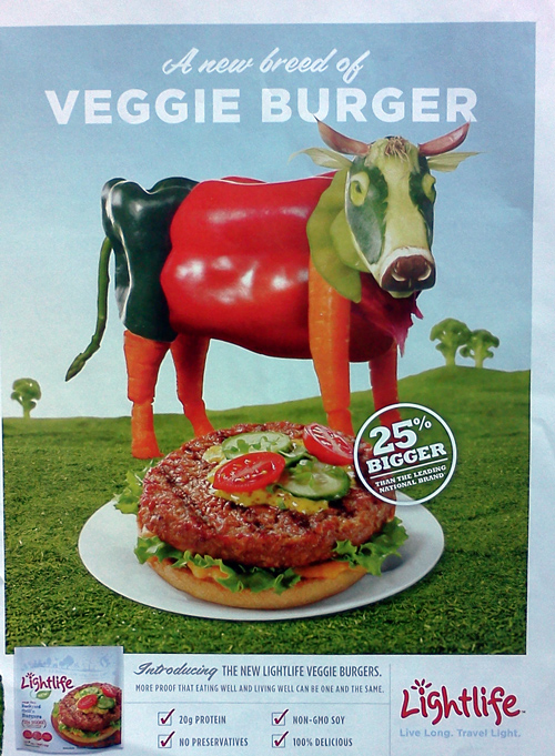 Veggie burger ad from Lightlife - the veggie cow