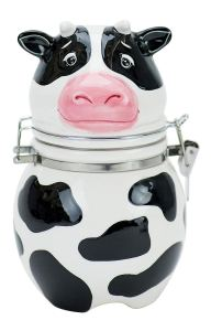 Black and white cow cookie jar